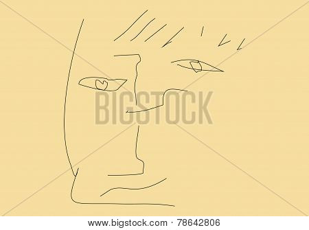 Abstract Portrait Of An Unknown On Beige Background.