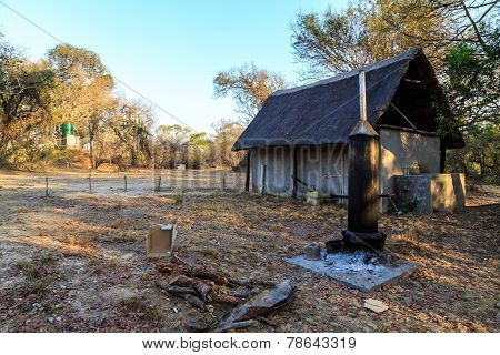 Shower And Toilet On A Camping In Africa