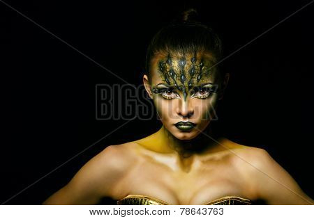 Girl with unusual makeup crocodile
