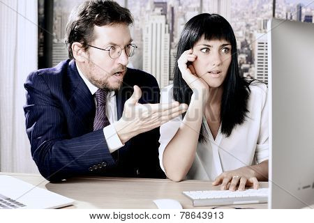 Business Man And Woman Desperate About Stock Market Going Down