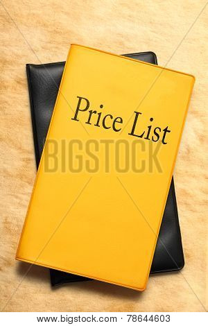 Price List Book On Stained Paper