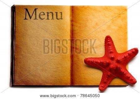 Open Menu Book And Red Seastar