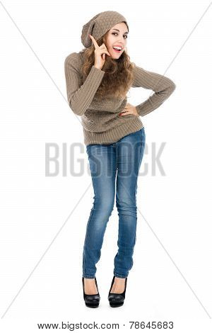 Portrait Of A Woman Scolding And Pointing Finger On White Background