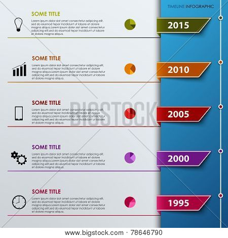 Timel Ine Info Graphic With Colored Tabs Template