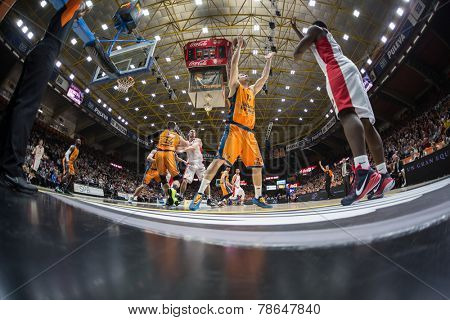 VALENCIA, SPAIN - DECEMBER 5: Center Martinez 17 during Euroleague match between Valencia Basket Club and Crvena Zvezda Telekom Belgrade at Fonteta Stadium on Dicember 5, 2014 in Valencia, Spain