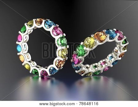 Wedding Ring with different color diamond. Fashion Jewelry background