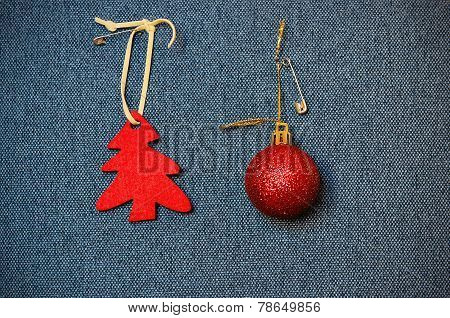Red Christmas Decorations, Pinned On A Blue Background