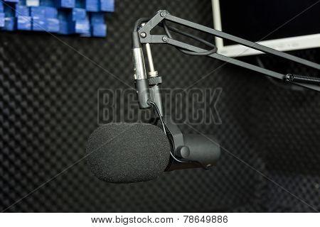 Dynamic Microphone In Recording Studio