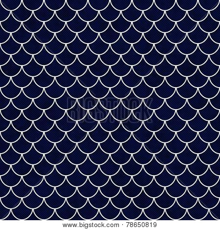 Navy And White Shell Tiles Pattern Repeat Background
