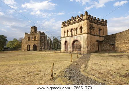 Medieval fortress in Gondar, Ethiopia, UNESCO World Heritage site.