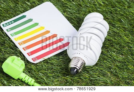Energy saving lamp on green gras