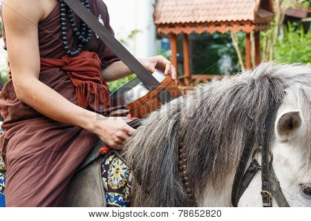 Buddhist Monk Ride Horse