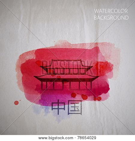 vector watercolor illustration of  abstract chinese building on