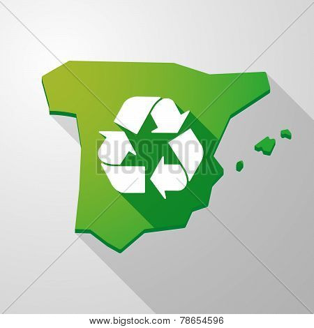 Spain Map Icon With A Recycle Sign
