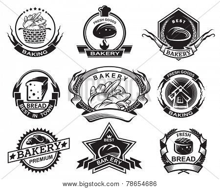 set of nine monochrome bakery labels