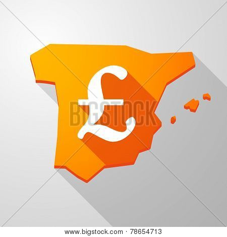 Spain Map Icon With A Pound Sign