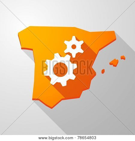 Spain Map Icon With Gears