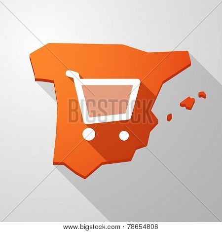 Spain Map Icon With A Shopping Cart