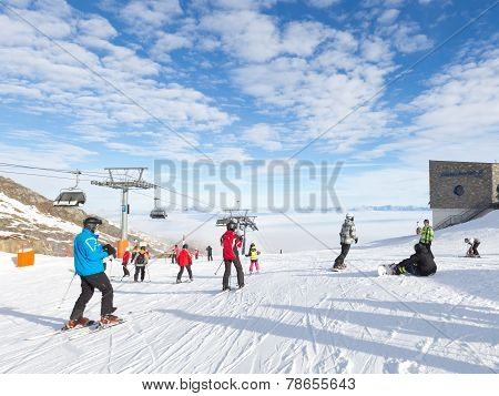 People Skiing In The Alps