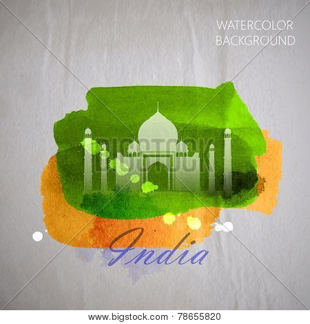 vector watercolor illustration of  indian Taj Mahal on the old w