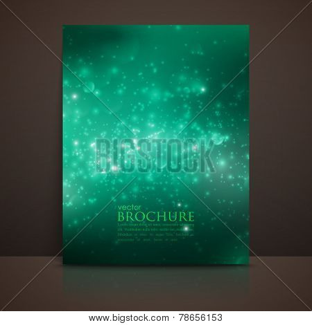 green sparkling background with glowing sparkles and glitters. S