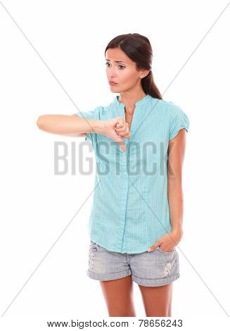 Unhappy Latin Girl With Thumb Down