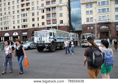 Police Cars Near The Manege Square In Moscow