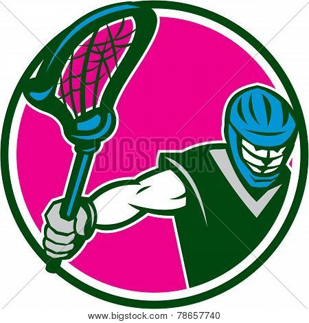 Lacrosse Player Crosse Stick Circle Retro
