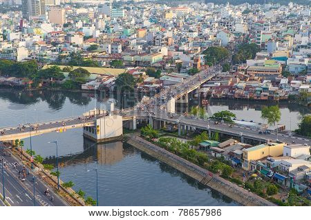Y character bridge at Ho Chi Minh Riverside with Ben Nghe or Tau Hu canal
