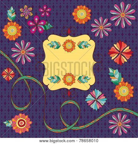 Retro floral background with frame