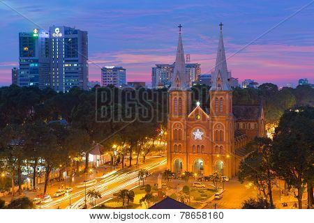 sunset at Night view Notre Dame Cathedral (Saigon Notre-Dame Basilica) downtown of Ho Chi Minh City
