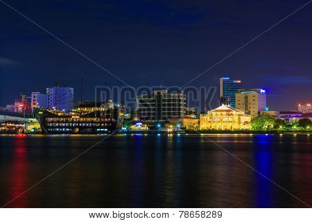 Night view of Dragon House Wharf ( Ben Nha Rong ) or Ho Chi Minh Museum