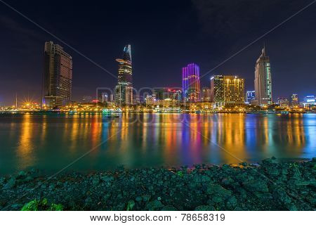 Ho Chi Minh City/vietnam - September 9 2014 : Night View Of Saigon River At Downtown ( Center ) Of H