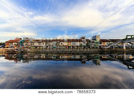 Binh Dong wharf on Tau Hu canal at Ho Chi Minh City, Vietnam in the sunrise