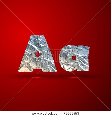 vector set of aluminum or silver foil letters. Letter A