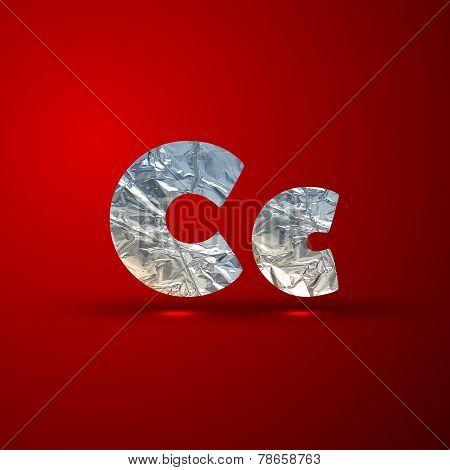vector set of aluminum or silver foil letters. Letter C
