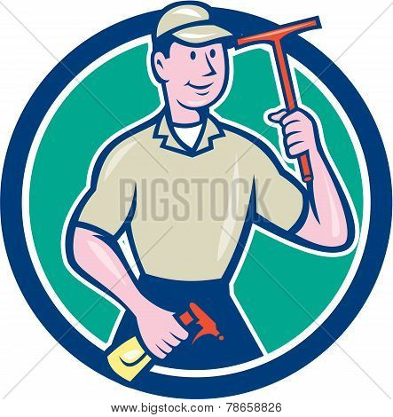 Window Washer Cleaner Squeegee Cartoon