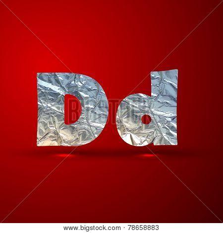 vector set of aluminum or silver foil letters. Letter D
