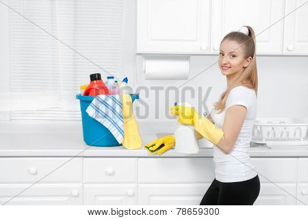 Cleaning service, woman with detergent