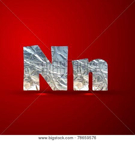 vector set of aluminum or silver foil letters. Letter N