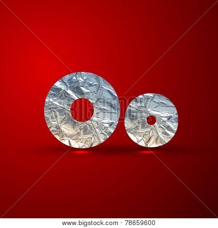 vector set of aluminum or silver foil letters. Letter O