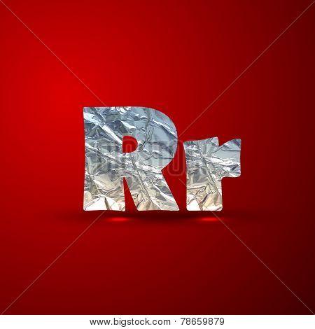 vector set of aluminum or silver foil letters. Letter R