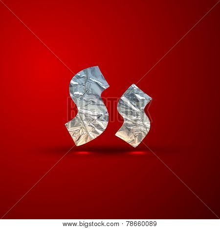 vector set of aluminum or silver foil letters. Letter S