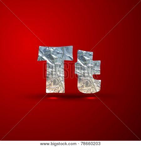 vector set of aluminum or silver foil letters. Letter T