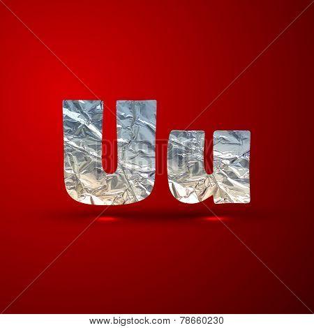 vector set of aluminum or silver foil letters. Letter U