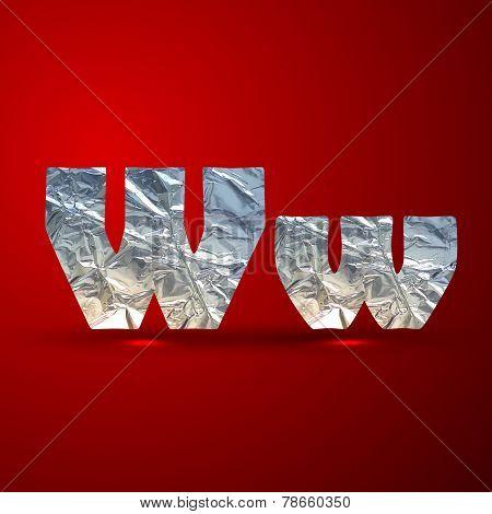 vector set of aluminum or silver foil letters. Letter W