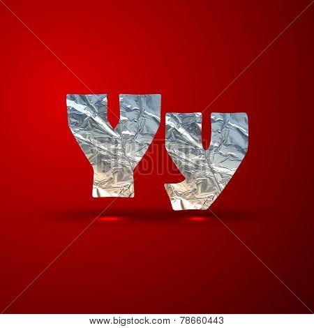 vector set of aluminum or silver foil letters. Letter Y