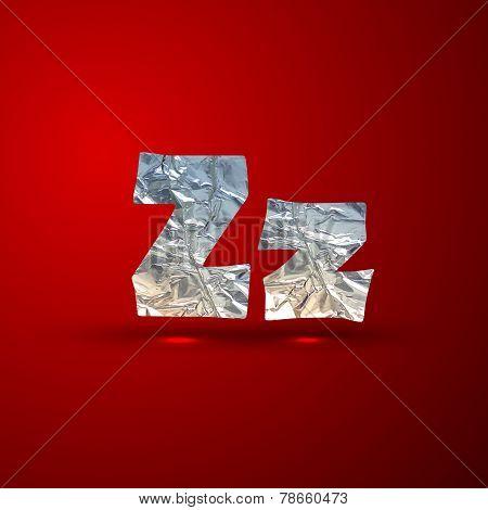 vector set of aluminum or silver foil letters. Letter Z