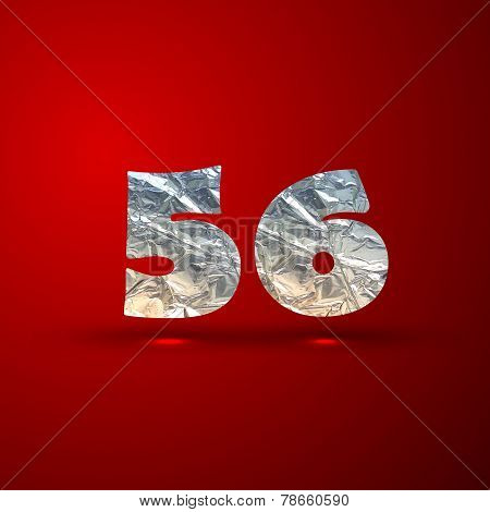 vector set of aluminum or silver foil numbers 5, 6