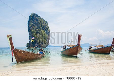 Thai Boats On The Beach